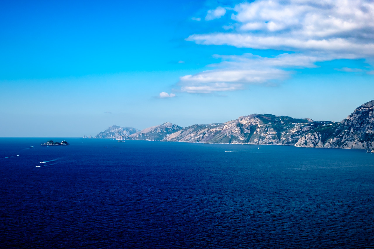View of the coast from Priano with Capri in the distance.