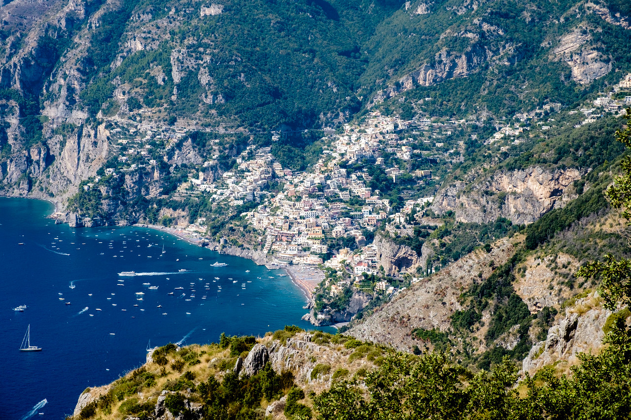 Zoomed in on Positano. We will be on that beach in a few hours.