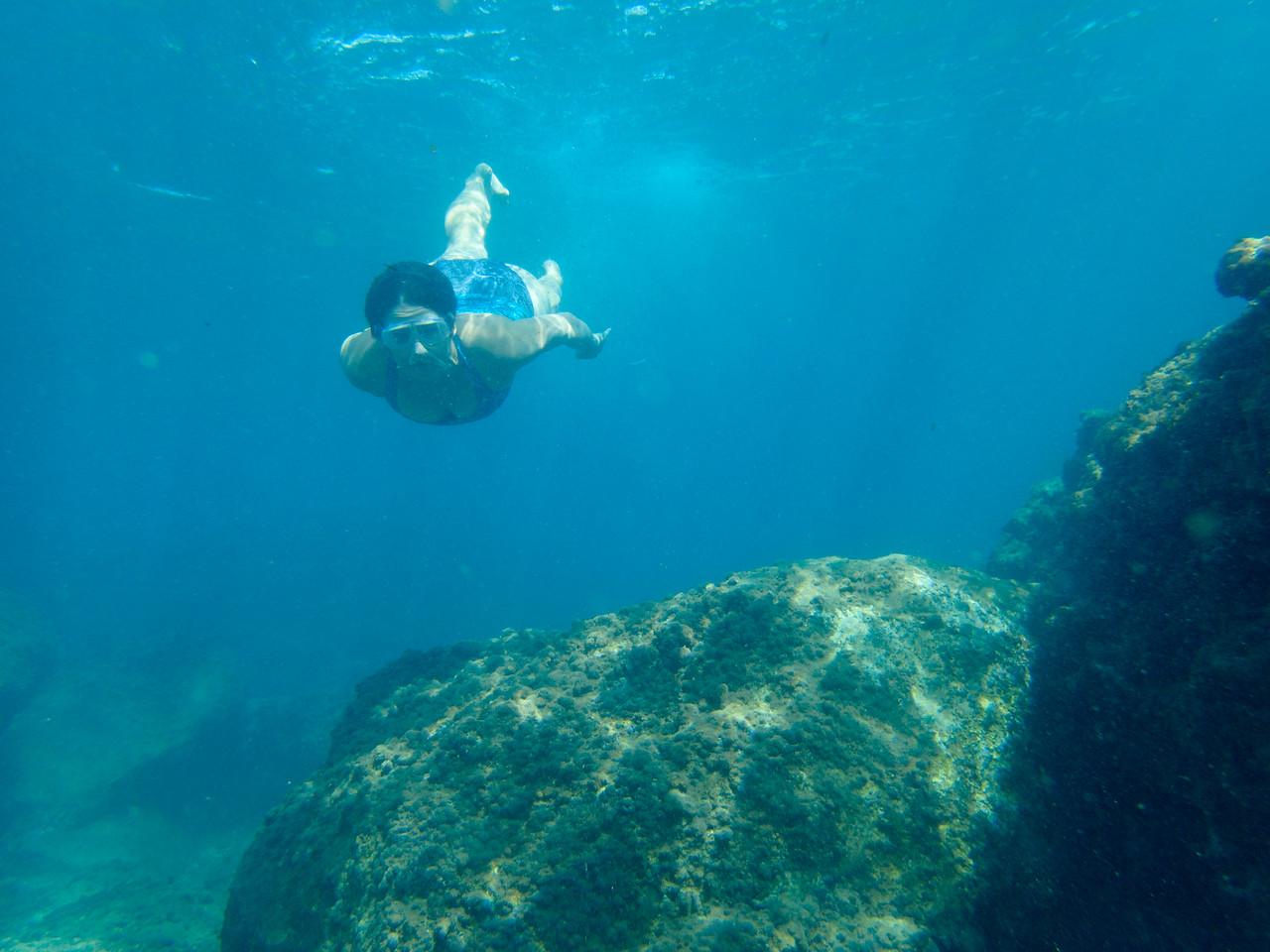 Swimming near the port.
