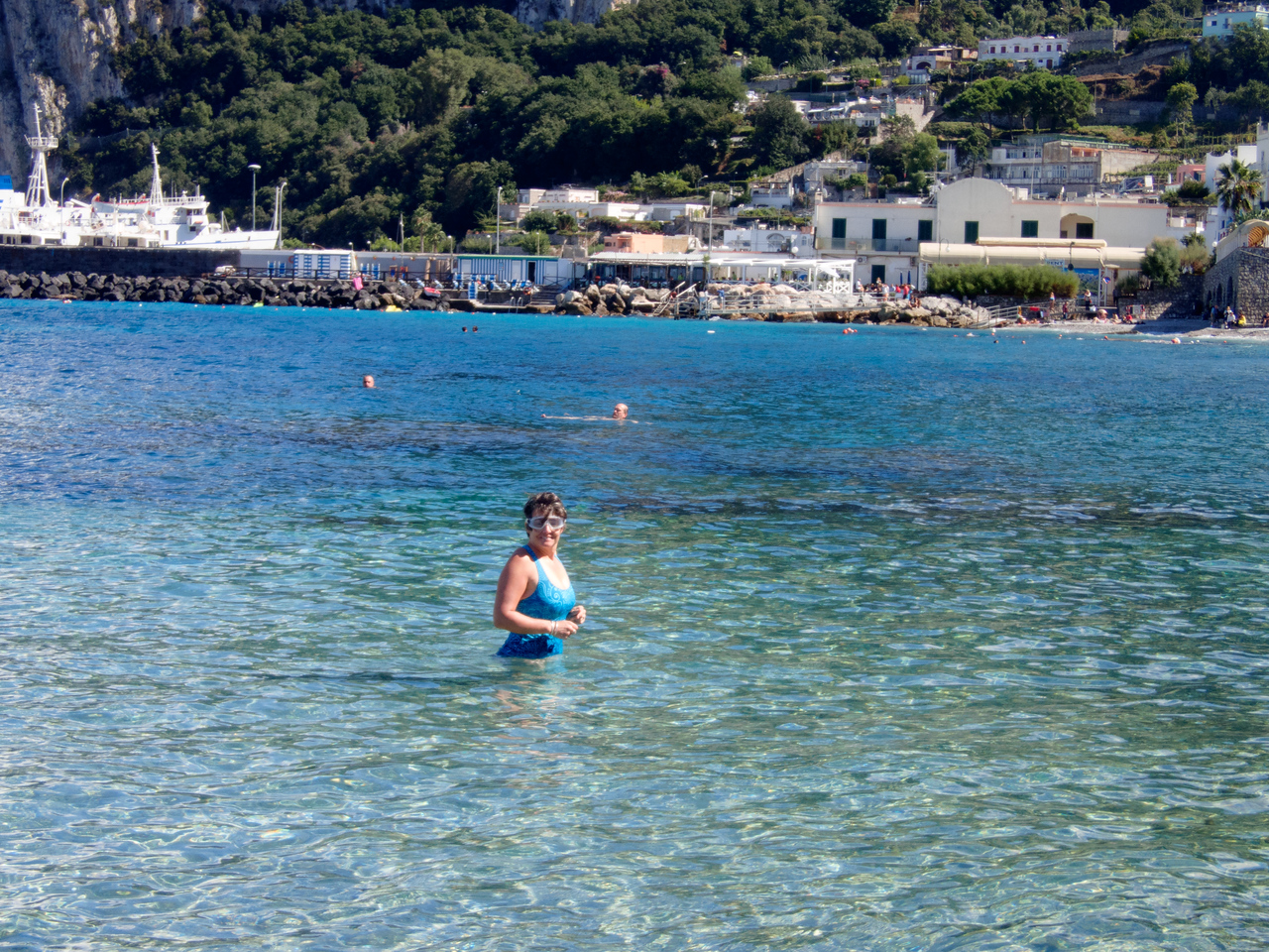 Swimming near the port.