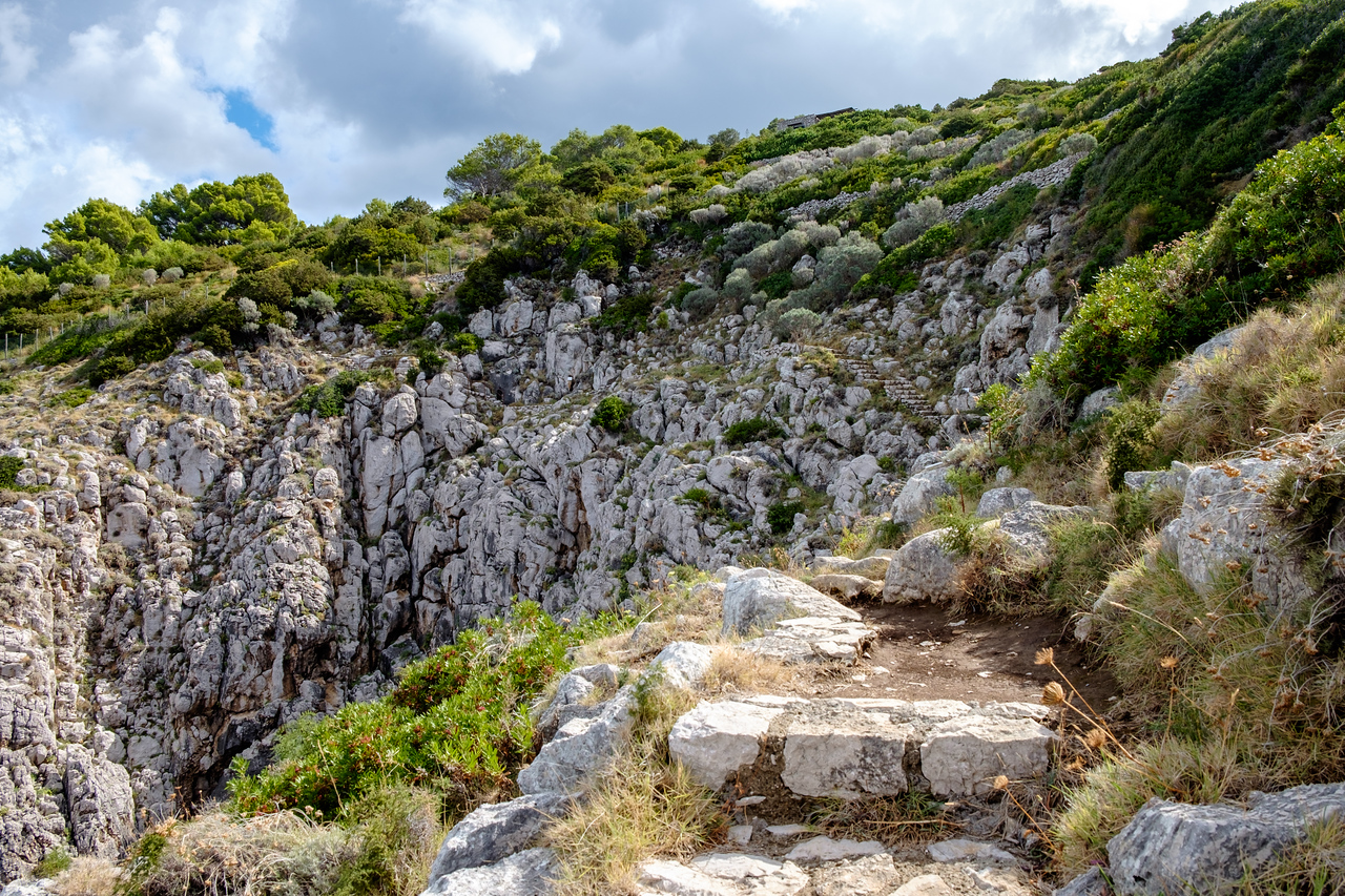 Steps along the cliff.