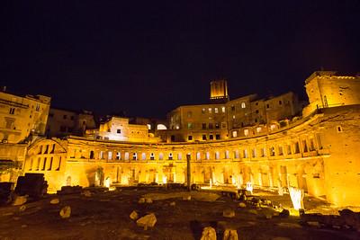 Trajan's Market at night.