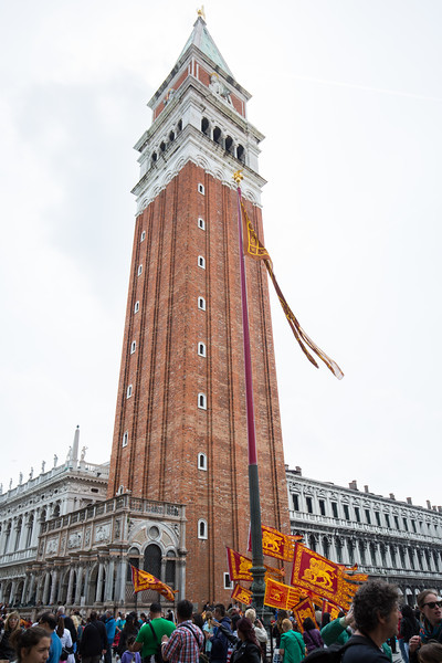 Flags adorn the square and were carried by many in the crowds on St. Mark's Day.