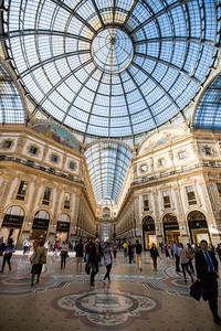 Inside the Galleria Vittorio Emanuele II, a beautiful covered shopping arcade.