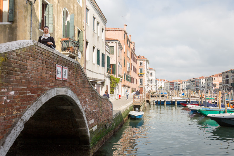 A bridge by the Grand Canal and the fish market.