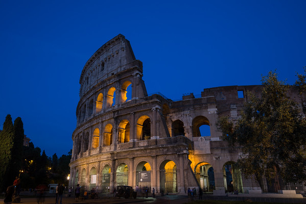 The Colosseum at night.