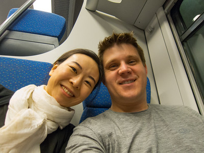 Train ride from the airport to  the metro station.