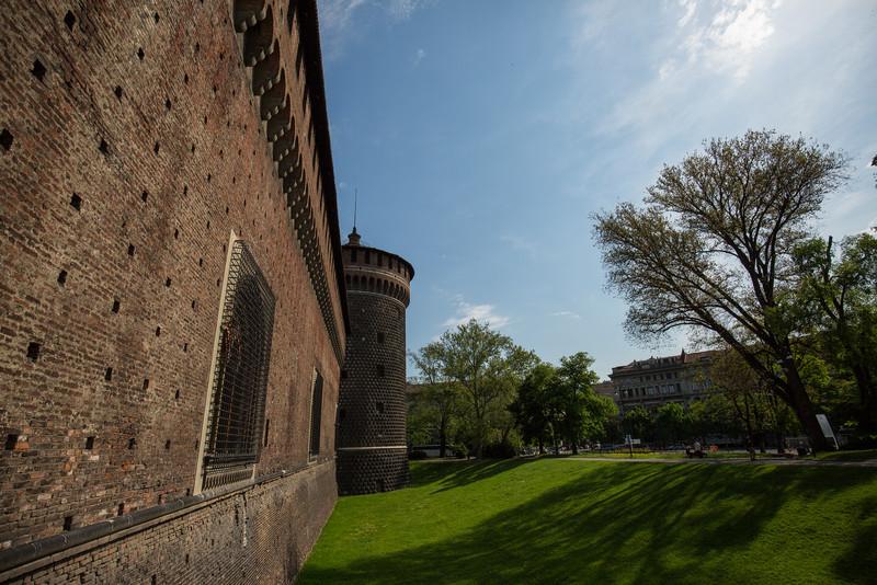 The outer wall of Castello Sforzesco (Sforza Castle).