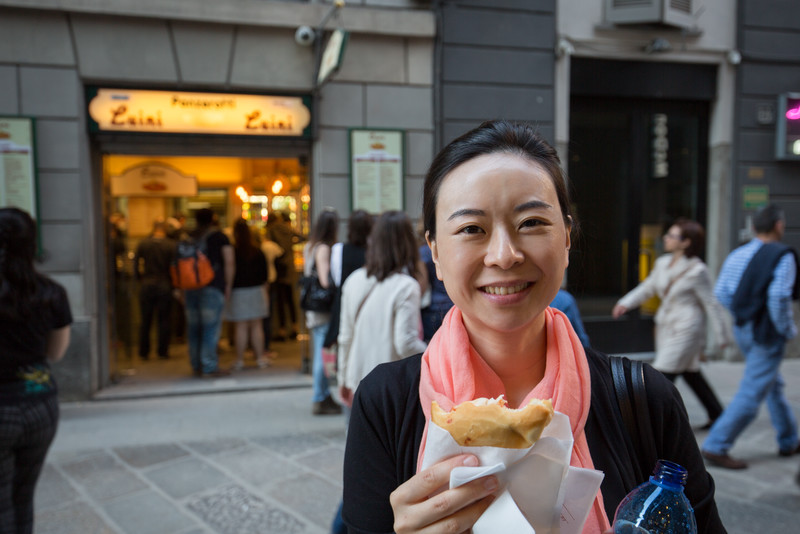 Enjoying a delicious light (as in quantity, not healthy) dinner of panzerotti.