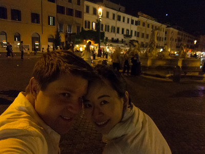 Enjoying one last evening in Italy people watching on a bench.