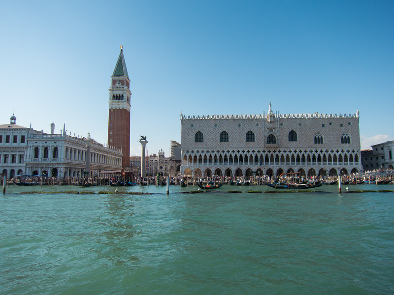 First view of St Mark's square (Piazza San Marco) from aboard the Vaporetto (water bus).