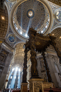 The dome and Bernini's baldacchino looking back toward the entrance of St. Peter's Basilica.