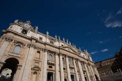 The front facade of St. Peter's Basilica.