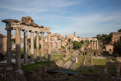 Another view of the Forum looking southeast from Capitoline Hill, with the Colosseum in the background.