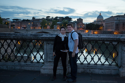 Enjoying sunset on Ponte Sant'Angelo, or the Bridge of Hadrian.