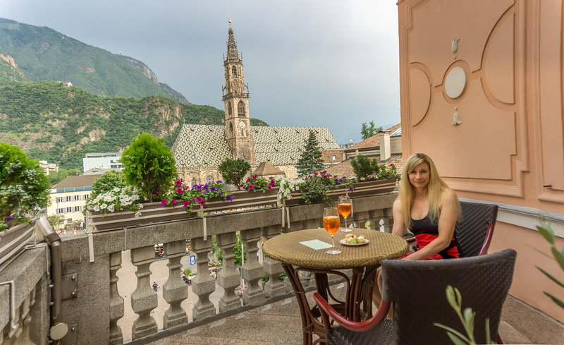 Amperol Spritz on our balcony above Piazza Walther in Bolzano