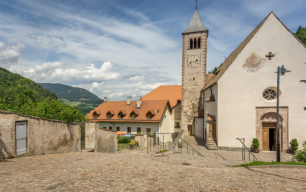 The hiking path went through the courtyard of this church