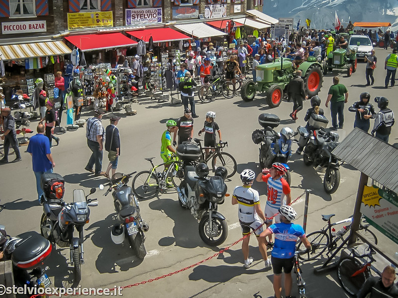 A circus atmosphere at the top of Stelvio Pass.  A tractor parade along with all the usual bikes and motorcycles