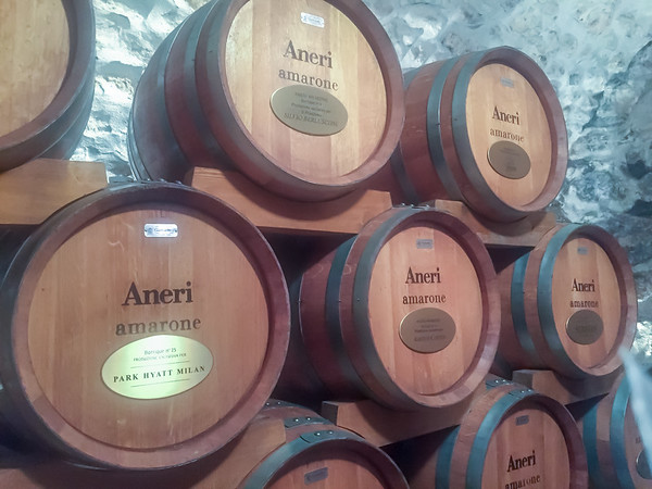 Reserved barrels of Amarone wine waiting to come of age.  The top center barrel is being held for Silvio Berlusconi.