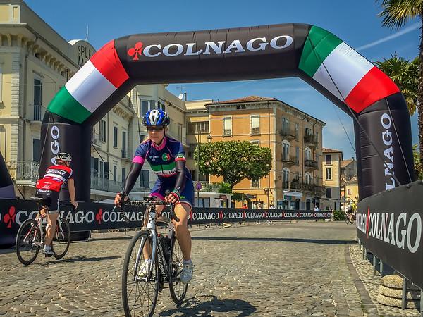 Calla scouting the cobble finish of the Colnago Cycling Festival Gran Fondo