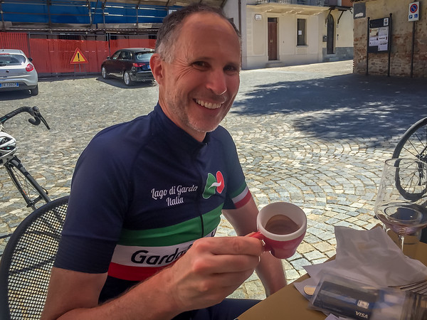 This is my first cup of coffee.  Paolo could not tolerate that I made it 56 years without having a cup of coffee.  He finally brought me into the Italian cycling culture of coffee breaks