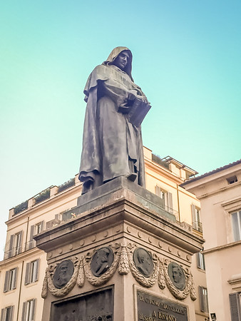 Statue of Giordano Bruno at Campo de Fiori.  He was burned at the stake in this location and become know as the Martyr for Science due to his theoligical hereasies.