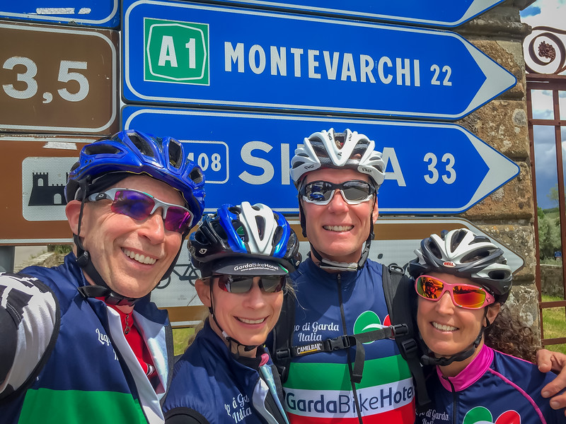A chance encounter with fellow Garda Bike Hotel guests on a ride in Tuscany.  Randy, Calla, Gavin & Laura on the backroads near Radda in Chianti