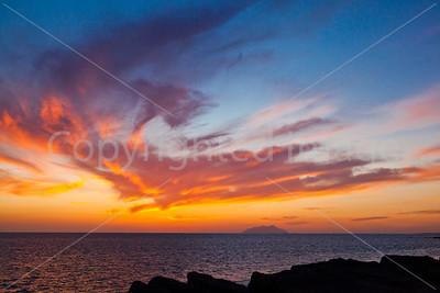 Sunset off the coast of Sicily