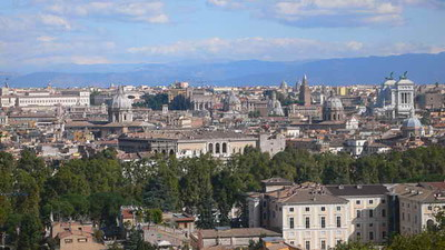 A view of Rome from over the Tiber