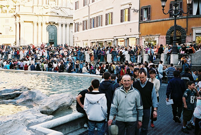 Crowds at the Trevi Fountain.