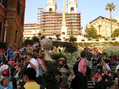 The Spanish Steps were quite crowded in the late afternoon.