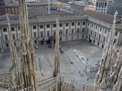 The Milan science museum seem from the top of the Duomo
