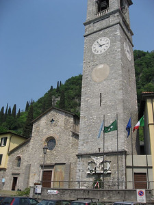 Church in the main square in Varenna