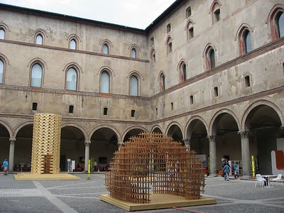 An art exhibit inside the Castello Sforzesco