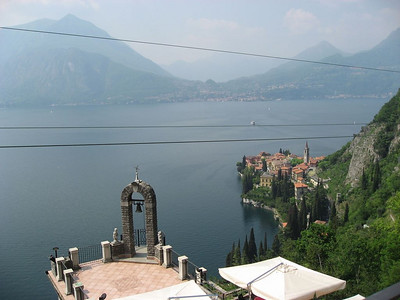 View of Varenna and patio of hotel from our balcony