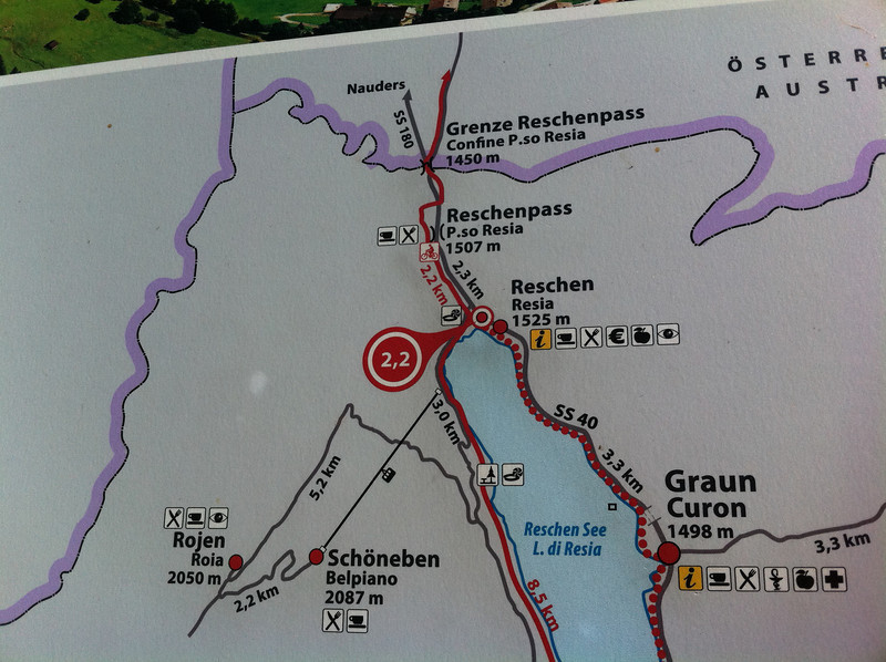 At the end of the reservoir we decided to head north for an extra couple of kilometers to see the Austrian border.