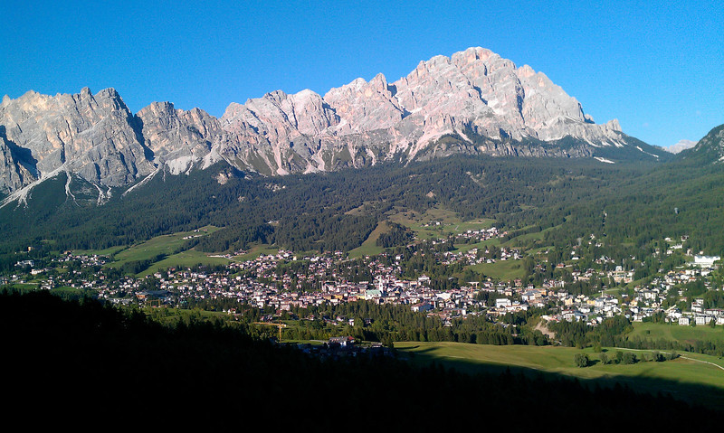 The view from half way back down to Cortina.  The town is in the foreground.  Our hotel was right next to the clock tower that can be seen right in the middle of the town.