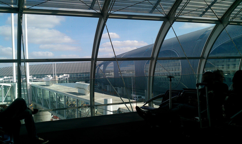 Waiting at Charles De Gaulle airport for our flight to Venice.  Funky place. :)