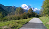 "It was fantastic to get to ride along such a great bike path with no auto traffic.  In the distance is ""God's throne"" - a spectacular mountain peak."
