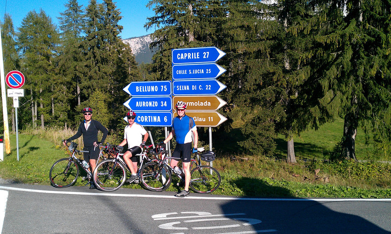 This is where we turned around the first day.  We're 6 km from Cortina where our hotel is and 11 km from Passo di Giau where we will ride on Tuesday after the organized bike ride.