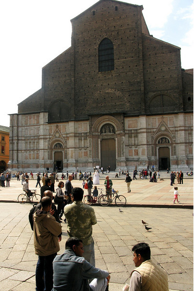 The Gothic Basilica di San Petronio...legend has it the facade was never finished because when the Vatican learned this basilica was meant to be larger than St. Peter's, its construction was ordered to be halted.