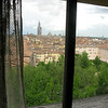 The view from our room in Modena (free! courtesy of couchsurfing.com), looking out over the city center. The Torre della Ghirlandina, the cathedral's bell tower, is the tall structure rising from the middle; it was unfortunately covered while restoration work is done on it.