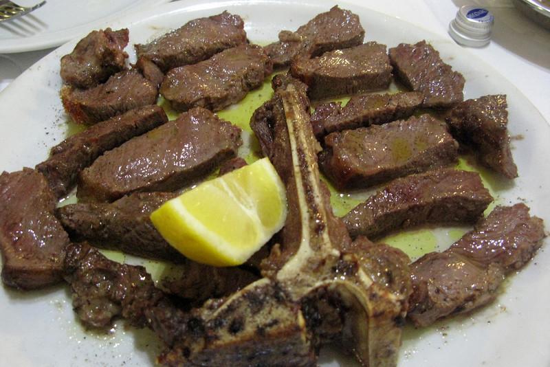 I split this giant delicious steak with Gian Luigi.