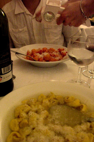 First courses: gnocchi in the best, simplest tomato sauce + tortellini in broth