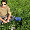 Makeshift picnic in the grass with the local white, Malvasia