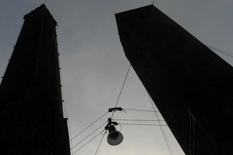 """Torre degli Asinelli and Torre degli Garisenda, Bologna's """"twin towers"""""""