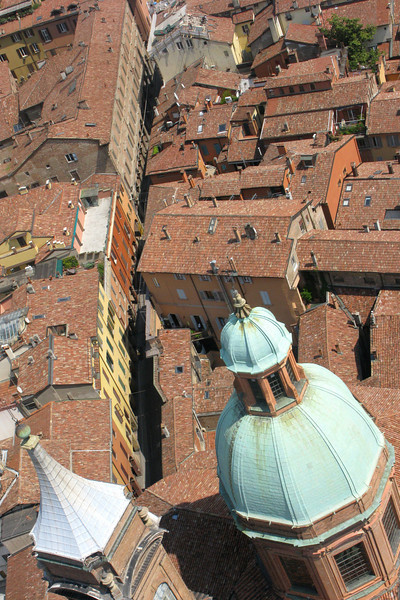 Bird's-eye view of a narrow Bologna street