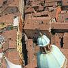 Bird's-eye view of a narrow Bologna street