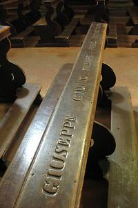 Engraved pews at a small church