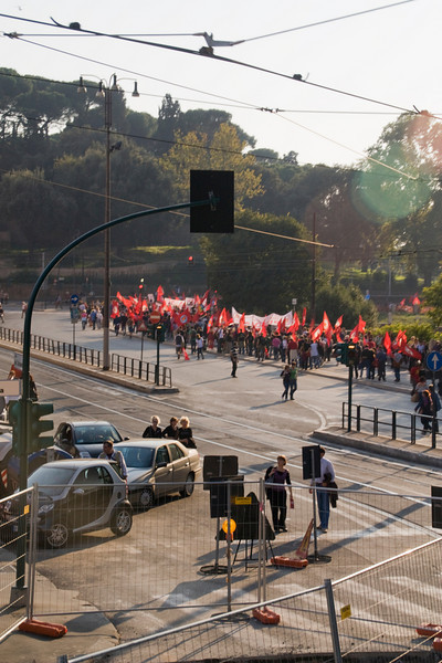 Ah, yes.  A communist political rally in the center of town is blocking traffic in all directions.  This is where the bus driver drops us off to find our own way back.  We were more than a mile, mostly uphill, from the hotel.  Bonnie wasn't pleased!